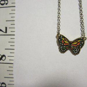 VINTAGE Girls'  Enameled Butterfly Necklace